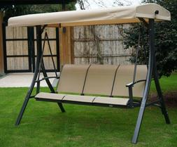 Swing With Canopy Beige Heavy Duty Steel Stand 3 Person Benc