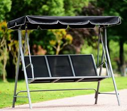 Swing With Canopy Porch Patio Bench Black Mesh Seat Heavy Du