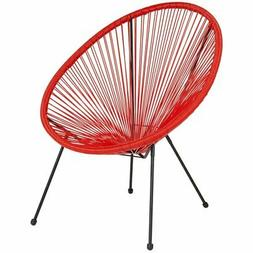 """Flash Furniture Valencia 29"""" Oval Patio Chair in Red and Bla"""