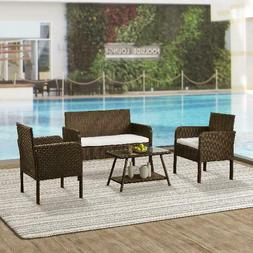 Wicker Patio Sets on Clearance, 4 Piece Outdoor Conversation
