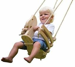 Wooden Horse Baby Swing for Outdoor Porch or Patio. Wood Tod